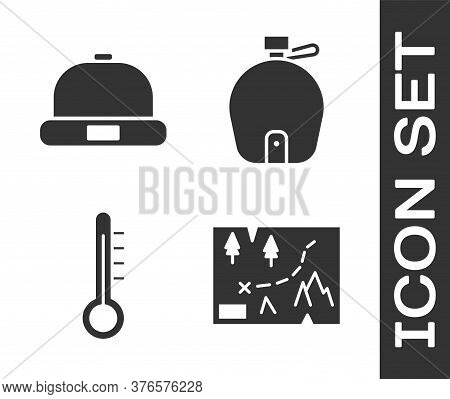 Set Folded Map With Location, Beanie Hat, Meteorology Thermometer And Canteen Water Bottle Icon. Vec
