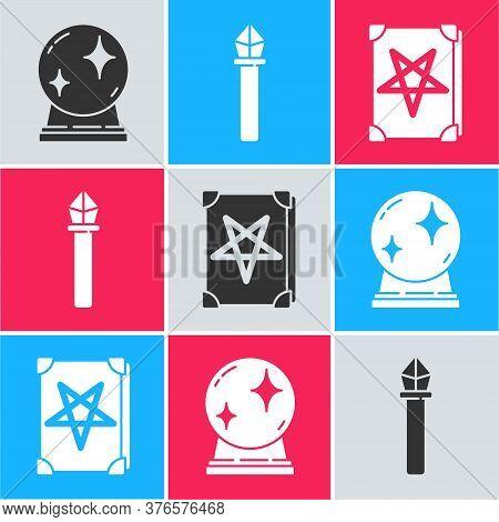 Set Magic Ball, Magic Staff And Ancient Magic Book Icon. Vector