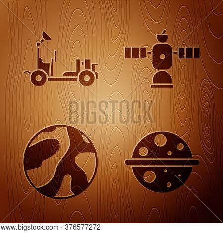 Set Planet Saturn, Mars Rover, Planet And Satellite On Wooden Background. Vector