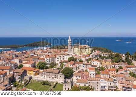 An Aerial Shot Of Coastal City Vrsar, Istria, Croatia