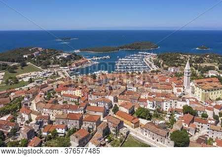 An Aerial Shot Of Coastal City Vrsar, Island Sveti Juraj  In Background Istria, Croatia
