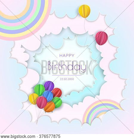 Happy Birthday concept. Balloons in clouds. Paper and craft art.  Happy birthday illustration, Happy birthday banner, Happy birthday background, Happy birthday card.