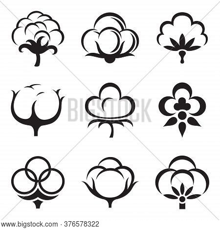 Icon Set Of Cotton Plant Fluffy Boll Flower