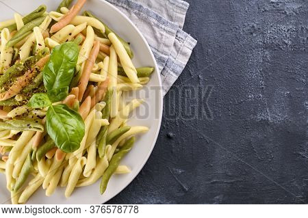 Traditional Pasta Trofie South Of Italy With Pesto And Basil. Homemade Meal For Lunch. Healthy, Tast