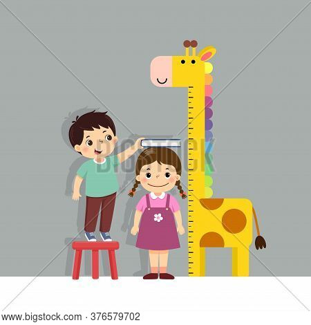 Vector Illustration Cute Cartoon Boy Measuring Height Of Little Girl With Giraffe Height Chart On Th