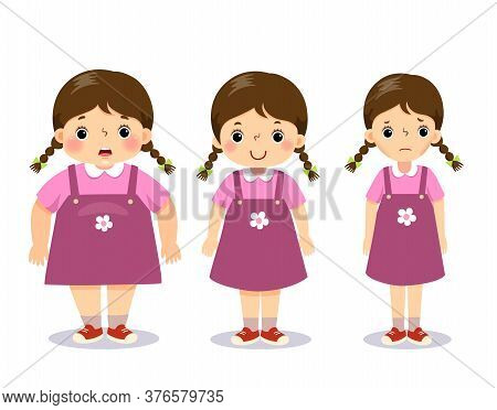 Vector Illustration Cute Cartoon Fat Girl, Average Girl, And Skinny Girl. Girl With Different Weight