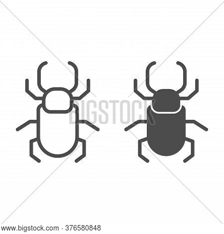 Beetle Stag Line And Solid Icon, Insects Concept, Stag-beetle Sign On White Background, Large Beetle