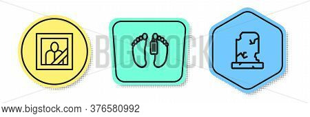 Set Line Mourning Photo Frame, Dead Body And Old Grave With Tombstone. Colored Shapes. Vector