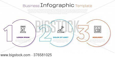 Set Line Grave With Tombstone, Shovel In The Ground And Mourning Photo Frame. Business Infographic T