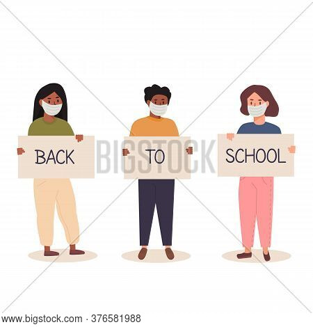 Back To School After Pandemia Concept. Diversity Of Children Schoolboys And Schoolgirls Of Different