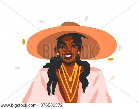 Hand Drawn Vector Flat Abstract Stock Graphic Illustration With Young, Happy Black African American