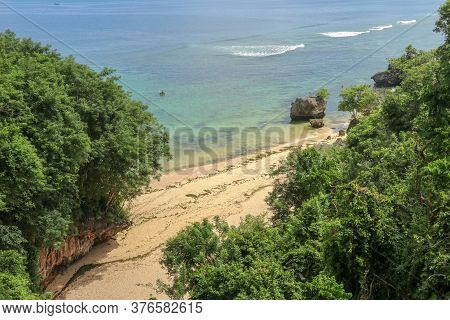 Beach Aerial View, Padang Padang Beach, Indonesia. Quiet Place During Corona Virus Time