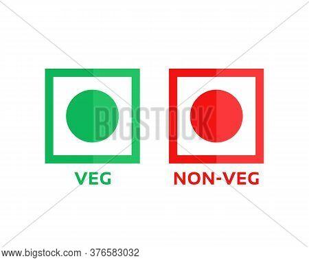 Veg And Non-veg Minimal Symbol. Cartoon Flat Style Trend Modern Foodie Logotype Graphic Art Design E