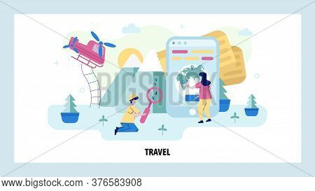 Woman Uses Mobile Phone To Plan Travel Route. Vacation And Adventure Concept Illustration. Entomolog
