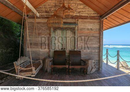 Tropical Sea Beach Bungalow Landscape. Beach Bungalow On Tropical Beach Scene. Tropical Bungalow San