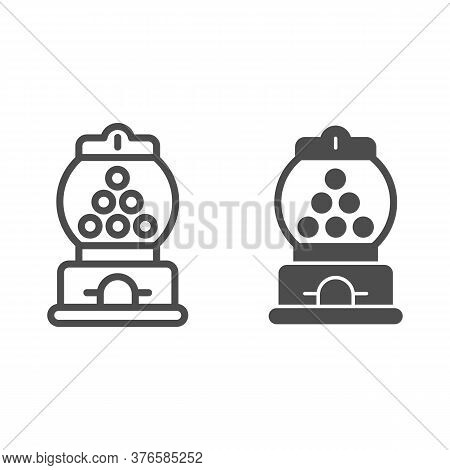 Candy Machine Line And Solid Icon, Amusement Park Concept, Gumball Machine Sign On White Background,