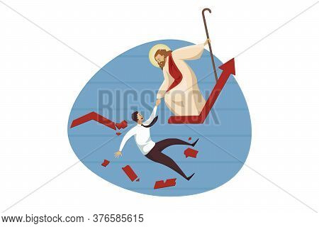 Religion, Christianity, Business Concept. Jesus Christ Son Of God Carrying Young Businessman Manager