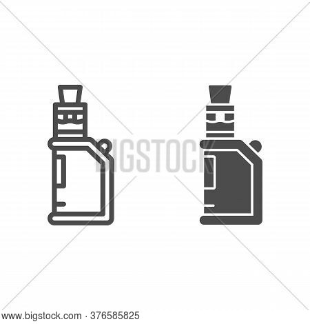 Electronic Cigarette Line And Solid Icon, Smoking Concept, E-cigarette Sign On White Background, Vap