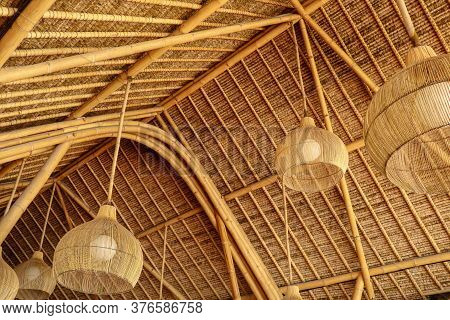 Traditional Style Chandelier. Made From Rattan Wood. Ecological House Made Of Natural Materials