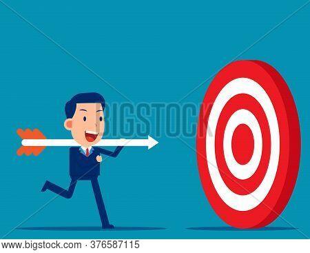 Hold Big Arrow And Go To Accuracy Reach Aim. The Goal Successful