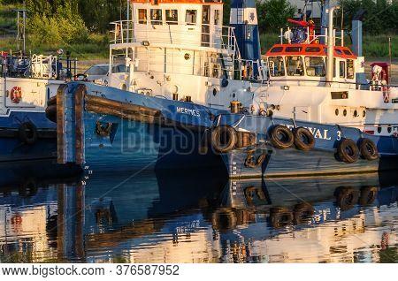 Szczecin, West Pomeranian / Poland - 2020: The Tug Fleet Is Moored To Port Quay