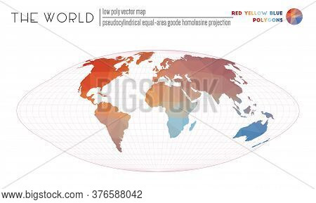 Triangular Mesh Of The World. Pseudocylindrical Equal-area Goode Homolosine Projection Of The World.