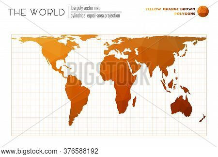 Triangular Mesh Of The World. Cylindrical Equal-area Projection Of The World. Yellow Orange Brown Co