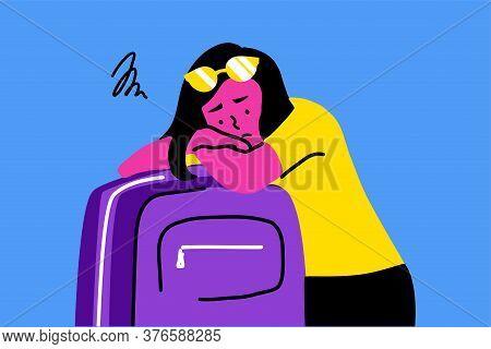 Sleep, Tourism, Travelling, Depression, Mental Stress, Frustration, Fatigue Concept. Young Sad Depre