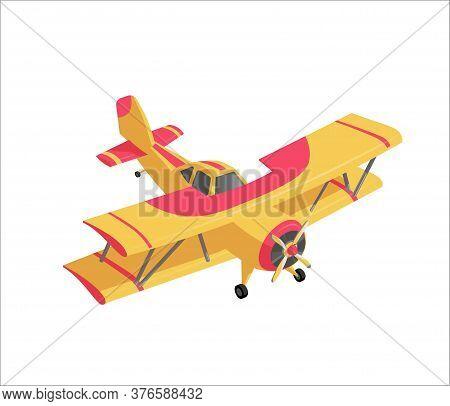Retro Farming Airplane, Crop Duster In Cartoon Style