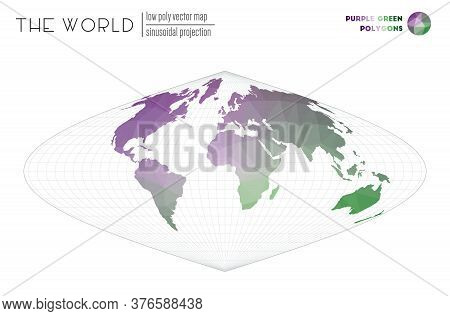 Abstract World Map. Sinusoidal Projection Of The World. Purple Green Colored Polygons. Stylish Vecto