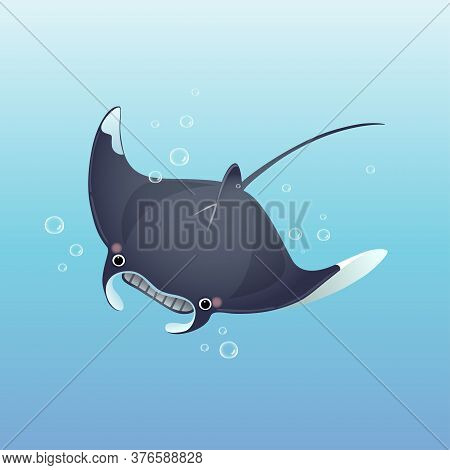 Vector Illustration Cute Cartoon Manta Ray Swimming In The Deep Blue Sea.