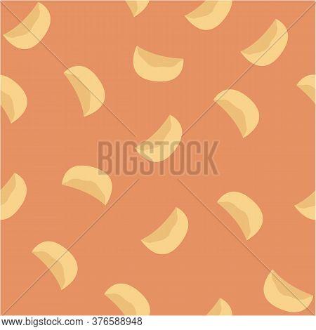 Seamless Pattern Of Dumplings, Varenyky, Pelmeni, Ravioli Or Momo, Dim Sum. Dumplings On Orange Back