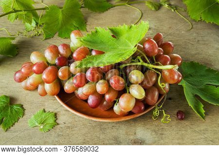 Ripe Bunch Of Grapes With Leaves On A Ceramic Plate. An Elite Variety Of Multi-colored Grapes. Harve