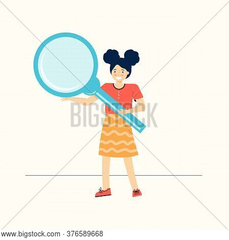 Smart Schoolgirl Holds A Large Magnifying Glass. Inquisitive Teenage Girl Explores And Studies The W