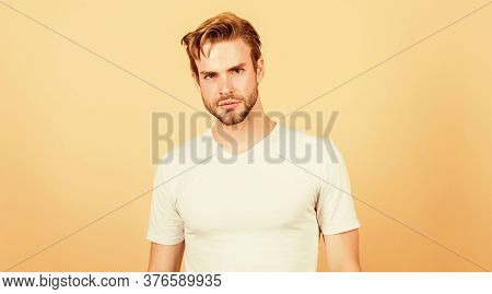 Bearded Man Relaxed Face. Man With Stylish Hair And Healthy Young Skin. Guy With Unshaven Face And M