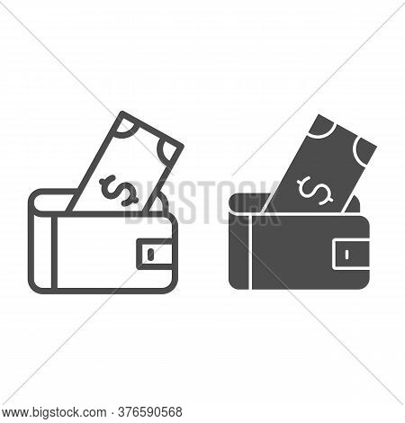 Wallet With Dollar Line And Solid Icon, Finance Concept, Money Wallet Sign On White Background, Wall