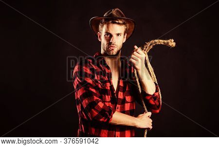 Is He Bandit. Western Cowboy Portrait. Man Checkered Shirt On Ranch. Vintage Style Man. Wild West Re