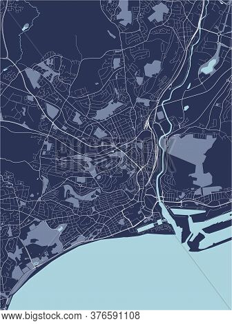 Map Of The City Of Swansea, Wales, Uk