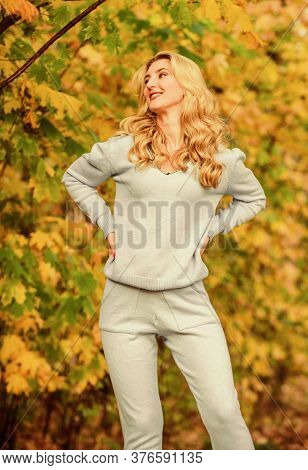Casually Beautiful. Girl Relax Nature Fallen Leaves. Clothes For Rest. Cosy Sport Suit. Sporty Girl.
