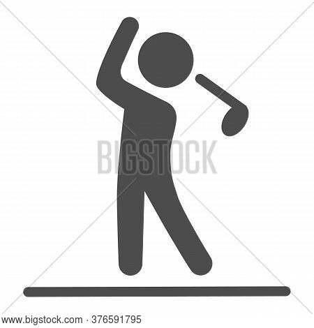 Golfer Silhouette Solid Icon, Golf Concept, Man Swinging Golf Sign On White Background, Golf Player