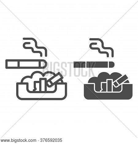 Cigarette In Ashtray Line And Solid Icon, Smoking Concept, Ash Tray Sign On White Background, Smoky