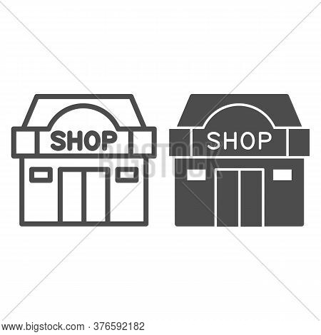Shop Building Line And Solid Icon, Shopping Concept, Store Showcase Sign On White Background, Shop S