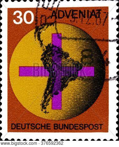 02 11 2020 Divnoe Stavropol Territory Russia The Postage Stamp Germany 1967 Adveniat Catholic Church