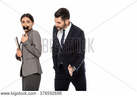 Businessman In Formal Wear Molesting Businesswoman With Scotch Tape On Mouth Isolated On White, Sexu