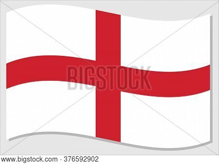 Waving Flag Of England Vector Graphic. Waving English Flag Illustration. England Country Flag Wavin