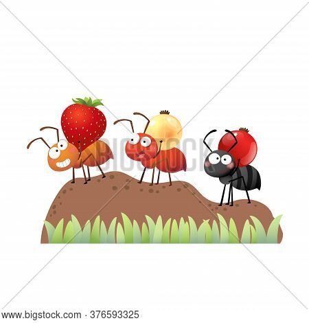 Vector Illustration Of A Cartoon Colony Of Ants Carrying Berries And Walking On The Pile Of Soil To
