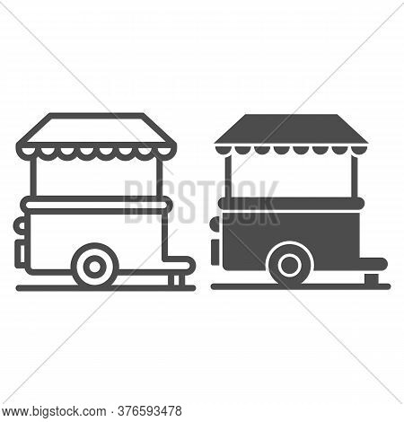 Stall On Wheels Line And Solid Icon, Street Food Concept, Street Kiosk Sign On White Background, Tra
