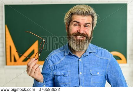 Stylish Trendy Teacher. Happy Teacher In Glasses. Check Knowledge Of Student. Are You Ready For Exam