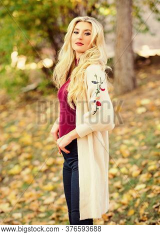 Feel So Warm And Comfortable. Autumn Fashionable Cardigan. Girl Stylish Outfit With Soft Wool Or Cas