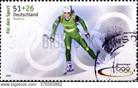 02 08 2020 Divnoe Stavropol Territory Russia The Postage Stamp Germany 2002 Winter Olympic Games - S